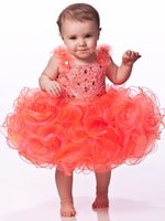 girls knee length pageant dresses - lafine Top selling brief cute organza flower girls dress under birthday Communion Girl s Pageant Dresses Y
