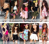 Cheap 2015New Summer Girls Clothes Sets Pure Cotton Girls dress sets Baby Girl Flower Printed Skirt Suits Children Clothing Kids Clothes 10 colors