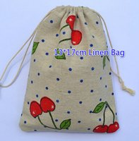big cherry candy - Free Ship cm Big Cherry Linen Bag Sack Jewelry Earrings Necklace Bags Wedding Party Candy Beads Christmas Gift Bag