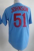 wholesale china jersey - 2015 Randy Johnson Blue Stitched Throwback Baseball Jersey Baseball Jerseys Cheap Baseball Jerseys From China