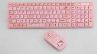 Wholesale 2015 New Time limited Hello Kitty Keyboard of Notebook Desktop Ultrathin Cartoon Cute Girl Usb Wireless And Mouse