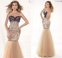 imported fabric - Champagne Mermaid Evening Dresses Beading Sexy See Through Back Prom Gowns Tulle Fabric Imported Party Dress In Floor Sleeveless YG05