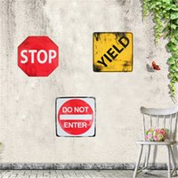 Wholesale Metal Painting STOP Steel Tin Signs Art Wall Decoration House Cafe YIELD DO NOT ENTER Vintage Restaurant Bar x24cm Tpyes