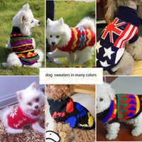apperal printing - Pet sweaters soft warm cat dog apperal woolen knitted plaid flower printed sweatshirts dog clothes witner