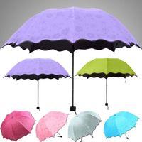 Wholesale 2015 Fashion Colorful Anti UV Parasol Flower Folding Sun Rain Windproof Umbrella
