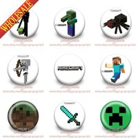 Wholesale New Arrival Hot Game Minecraft Cartoon Logo Tin Buttons Pins Badges MM Diameter Round Brooch Badge Mixed Styles Christmas Gift