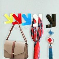 Wholesale 200pcs Coat bag hat hanger wall dector colors DHL hot sale arrow shape wood hooks