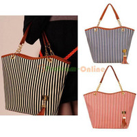 Wholesale Fashion Women Lady Messenger Satchel Tote Stripe Tassel Handbag Shoulder Bag
