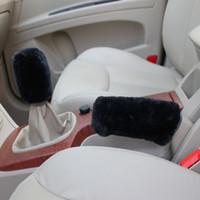 Wholesale car accessories Plush car gear sleeve handbrake sleeve gear kit car kit car interiors black CIAD034