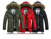 canada - 2015 Winter Men Down Parkas Raccoon Fur Hooded Thick Canada Long Sleeve Zipper Male Casual Long Coats AT001