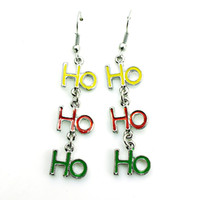 alphabet letter charms - Brand New Charms Earrings Silver Plated Dangle Three Color Letter HOHO Earrings For Women Jewelry Christmas Decoration