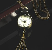 Wholesale Retro Vine Bronze Quartz Ball Glass Pocket Watch Necklace Chain Steampunk free ship