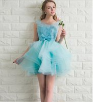 Cheap Light Aqua Short Prom Dress Lace Top Corset Back Puffy Tulle Skirt Teens Short Prom Dresses Homecoming Customized Size