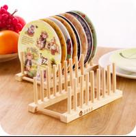 Wholesale Brand new Set Wood Kitchen Storage Rack Kitchen Utensils Dish Rack Dinner Plates Holder DIY Holder Kitchen Accessories