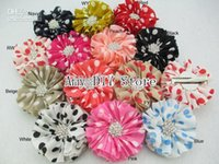 accessories red spot - xayakids NEW quot Ballerina Flowers Spot Chiffon Flowers With Starburst Button Hair Clips hair accessory Polka Dot Flower HH032 GZ