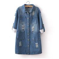 jeans xxxl - Women Demin Jackets Coat Spring Fall New Korean Loose Hole Jeans Outdoor Jacket Long Sleeved Denim Shirt Women Plus Size XXXL
