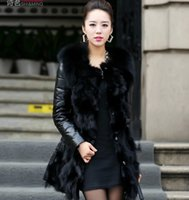 Wholesale hot selling new style fashion Fur sheep skin fox fur coat and long female WPC0056