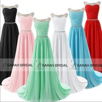 Wholesale Short One Shoulder Mint Dresses - 2015 IN STOCK Crystal Prom Evening Dresses with Sheer Neck A-Line Jewel Pink White Black Red Blue Mint Long Formal Party Evening Gowns