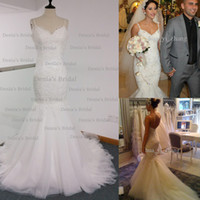 Wholesale Real Image Mermaid Wedding Dress Spaghetti Straps Backless with Lace Appliques Chapel Train Bridal Gowns Steven Dhyz
