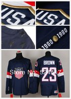 olympic hockey jerseys - stitched Olympic Team USA Dustin Brown Jersey Sochi Winter olympic Ice Hockey Jersey Blue white