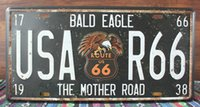 bald eagle stickers - new Mother Road R66 Bald Eagle Vintage License plate Poster Retro Metal Painting Tin Plate Cafe Wall Sticker Home Art Decor Tin sign