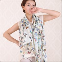 butterfly scarf silk - New butterfly printed long lady chiffon silk scarf colors WJ