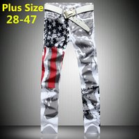 cheap jeans for men - Discount Cheap Famous Brand Mens Fashion Jeans New Male Denim Ripped Printed American Flag White Jeans Jogger Pant For Men