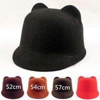 Wholesale 52cm cm cm New Autumn Women s Devil Hat Punk Fashion Unique Lovely Cute Kitty Cat Ears Wool Derby Bowler Hat Cap