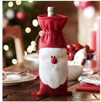 Wholesale 33X18CM Santa Claus Christmas gift bag Xmas Red wine bottle bag Christmas Decorations Festive Party Supplies