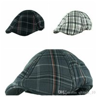 Wholesale LJJG72 Casual Beret Fashion Plaid Pattern Design Peaked Beret Hat Golf Visor Cap Plaid Flat Hat