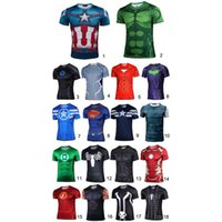 t-shirt wholesale - High Elastic Fast Dry Print Shirts Super Hero T Shirts Short Sleeve Water Proof Sport Casual Outdoor Tops DK1