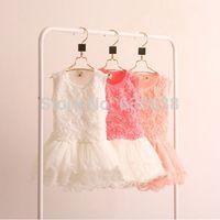 Wholesale New Hot Kids Girls Toddler Princess Rose Flower dress Lace Ruffled Dresses Tutu dress child s clothing