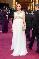 celebrity style dresses - 2015 GEORGINA CHAPMAN Marchesa Celebrity Evening Dresses Maternity Style Crystal Beading Chiffon Prom Dress Bateau Neck Sheer Lace Sleeves