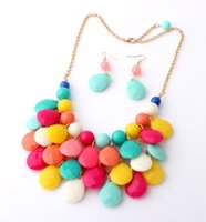 fashion beaded earrings - 10 Colors New Fashion Chokers Bib Bubble Statement Necklace for Women Jewellery Acrylic Beaded Necklaces with Earrings set