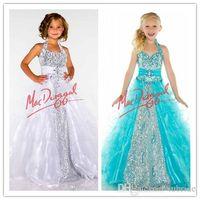 Off-the-Shoulder girls pageant dresses size 14 - Little Girls Pageant Dresses Sequins Beades Toddler Pageant Dresses Organza Plus Size Flower Girls Dresses Halter Ruffles Floor Length