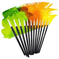 Wholesale 12Pcs Brush for Painting Nylon Hair Paint Brush Set Wooden Handle Water Color Gouache Acrylics Oil Painting Tool Art Supplies