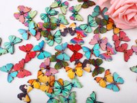 Wholesale 50pcs colour Holes Mixed Butterfly Wooden Buttons Sewing Scrapbooking DIY TT79