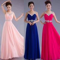 strapless maxi dress - 2015 Women Chiffon Evening Gown Bridesmaid Prom Formal Party Long Maxi Dress with rhinestone high quality