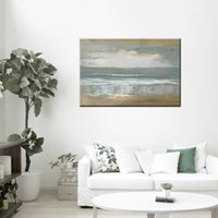 beach wall paintings - 20 inch One Panel Canvas Hand painted Oil Painting with Stretched Frame Abstract Style Beach Landscape Home Decor Wall Paper Art