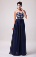 Wholesale Grace Karin New Long Prom Dresses Sequins Beading Chiffon Evening Dress Formal Gown Navy Blue CL6050