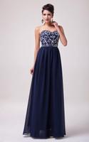 dress blue grace - Grace Karin New Long Prom Dresses Sequins Beading Chiffon Evening Dress Formal Gown Navy Blue CL6050