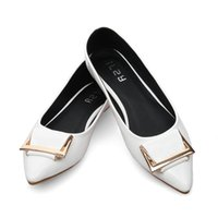 Cheap The new spring 2016 Korean metal buckle shoes leather shoes pointed Nude shoes Taobao shoes #01