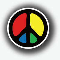 bicycle car support - 10 Reflective Peace Anti war Signs Bicycle Car Sticker Decal Bumper Stickers Rainbow Color Peace Sign Hippy Support Peace Anti War
