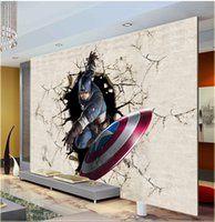 art america tv - 3D View Wall Mural Captain America Photo Wallpaper The Avengers Wallpaper Room Decor Kid s room TV background Wall Bedroom Hallway Home Art