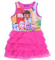 Cheap Girls doc mcstuffins dresses 2014 baby infant 1y-4y pink sleeveless gauze tutu dresses children summer clothes cartoon party birthday gift