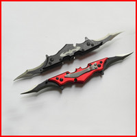 batman stainless steel blades - Black red mini Pocket Dark Knight Batman Double Blade folding blade Knife clip clasp knife knives