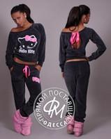 velour tracksuit - New Women Hello Kitty Printed Velvet Sweatshirts piece Sets Hoodies Cardigans Sportsuit Women Tracksuits sweatshirt and pant
