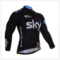 jacket team - WINTER FLEECE THERMAL ONLY CYCLING JACKETS CLOTHING LONG JERSEY ROPA CICLISMO SKY PRO TEAM BLACK S032 SIZE XS XL B42