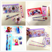 Wholesale kids spider man DOC MCSTUFFIN SOFIA FROZEN stationery set for Students pencil bags pencil book rubber ruler sharpener