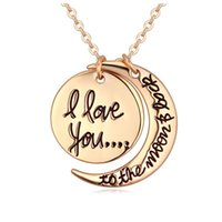 al por mayor luna colgante de oro rosa-De moda eslabón de la cadena Sol y la Luna colgante de oro rosa collar con